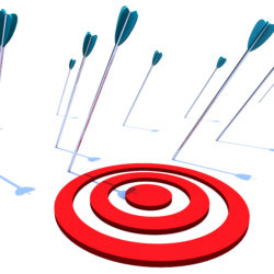 Many arrows miss their intended target, symbolizing a goal not achieved