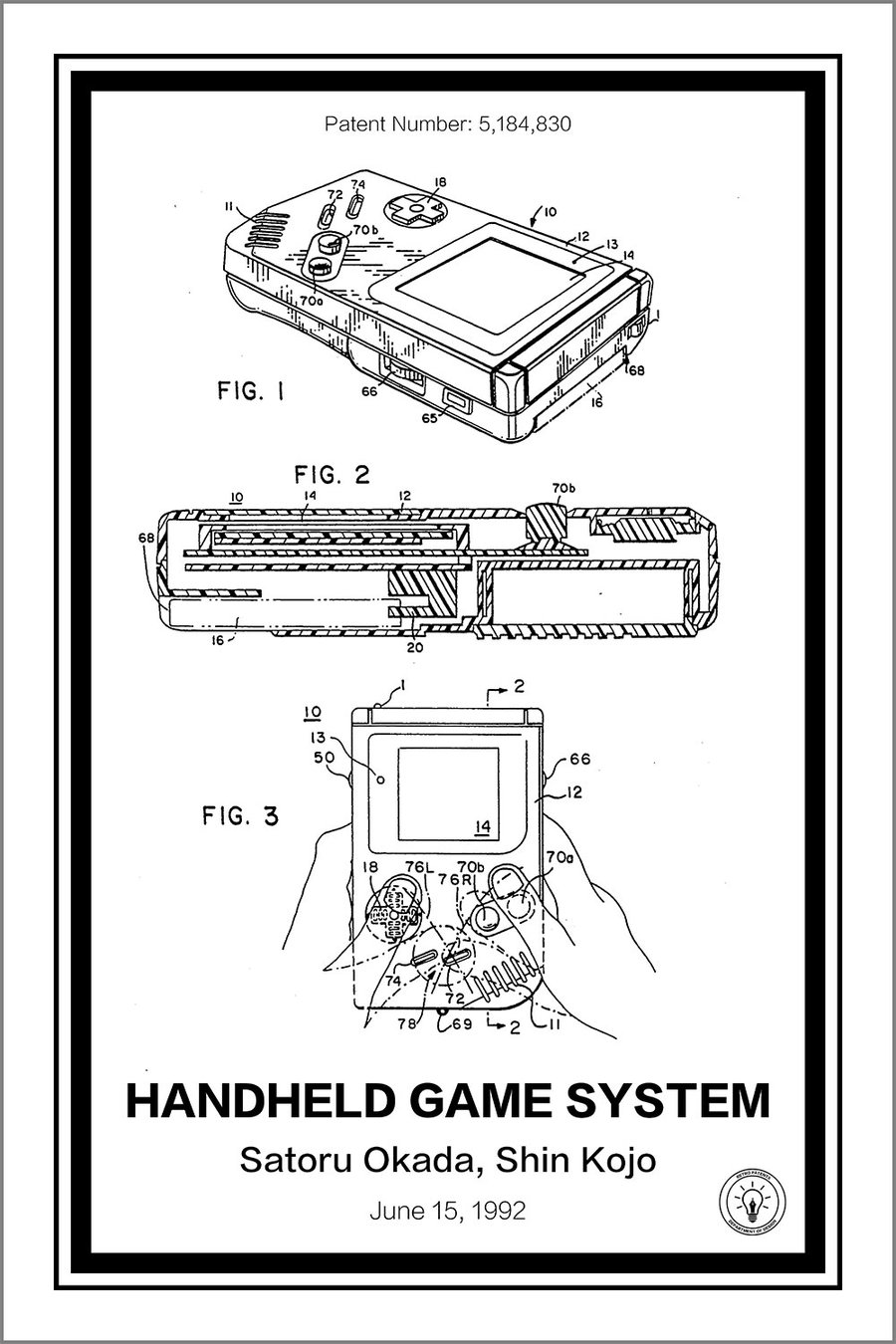 """HANDHELD GAME SYSTEM"" Print from Retro Patents"